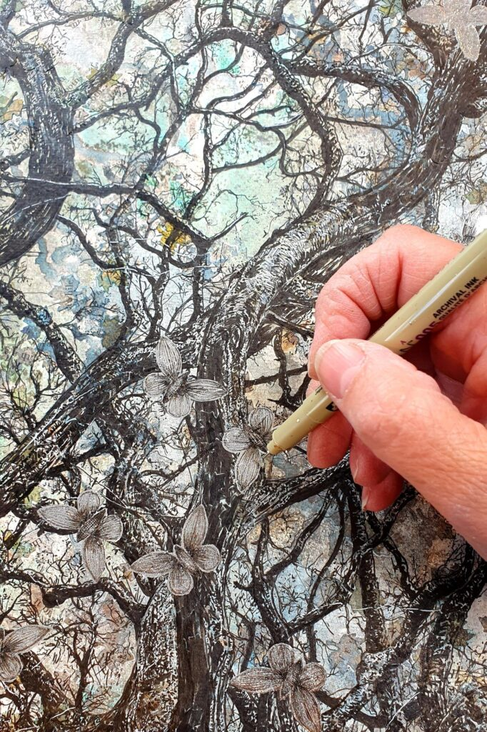 fine liner drawing of tree